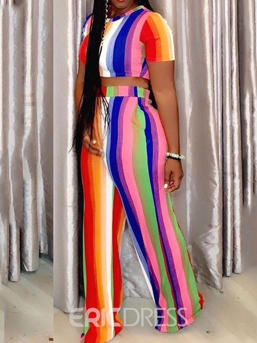 Ericdress Stripe Skinny Color Block T-Shirt And Pants Two Piece Sets