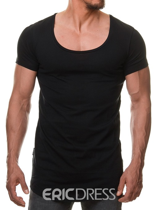 Ericdress Plain Scoop Round Neck Mens Loose T-shirt