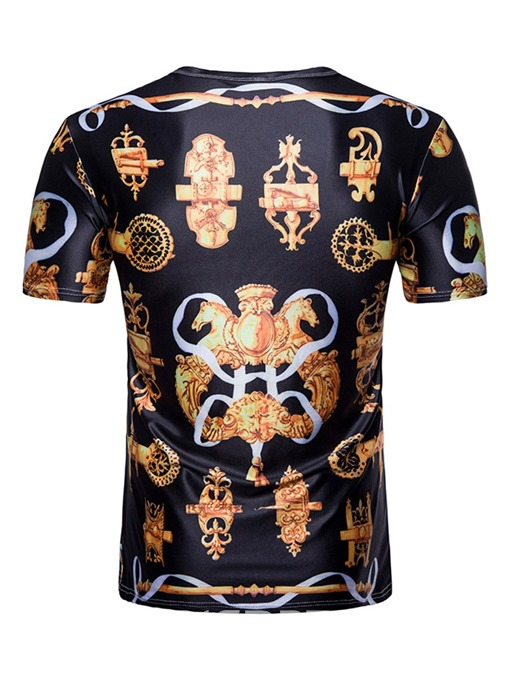 Ericdress Casual Print Round Neck Mens Straight T-shirt