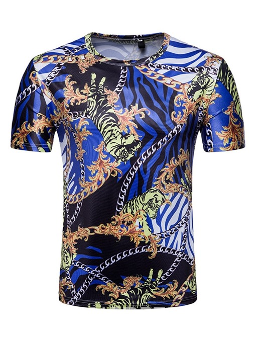 Ericdress Print Round Neck Animal Slim Mens T-shirt