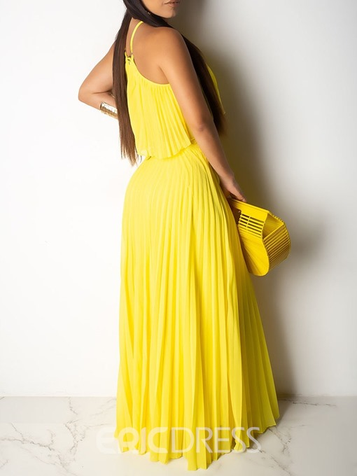 Ericdress Pleated Plain Yellow Skinny T-Shirt And Skirt Two Piece Sets