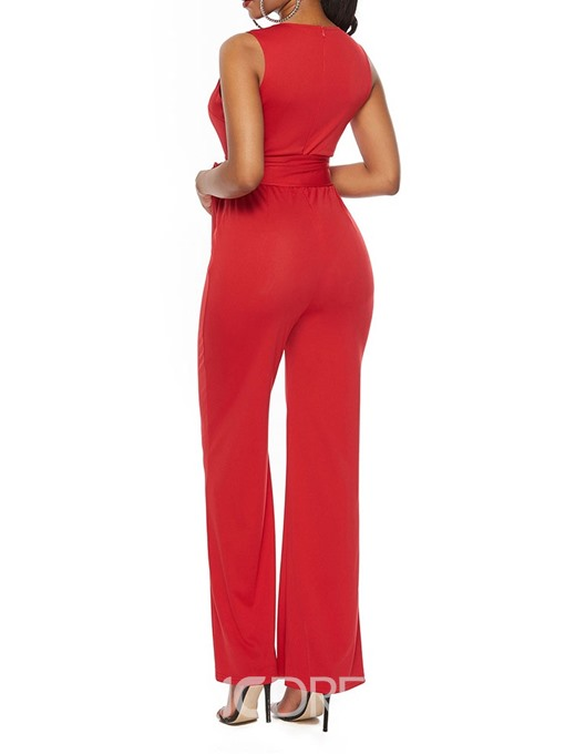 Ericdress Plain Office Lady Dressy Bowknot Slim Jumpsuit
