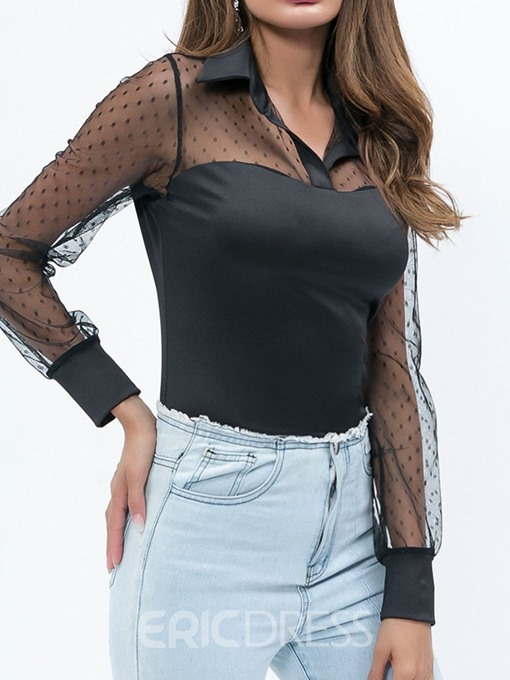 Ericdress Patchwork Polka Dots Lapel See-Through Fashion Blouse