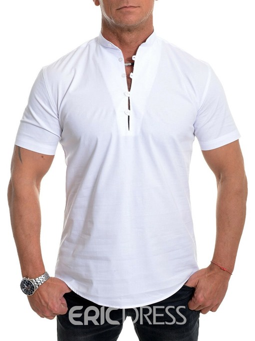 Ericdress Button Casual Stand Collar Loose Mens Shirt