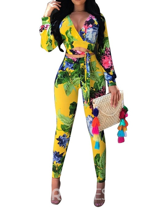 Ericdress Floral Office Lady Print Sexy Skinny T-Shirt And Pants Two Piece Sets