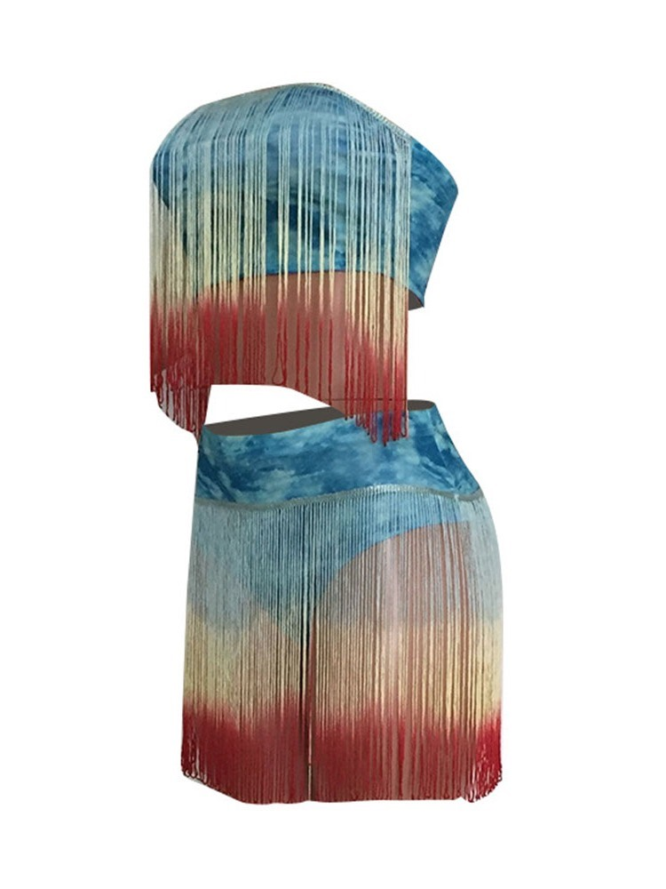 Ericdress Tassel Color Block Sexy Skinny Vest And Shorts Two Piece Sets