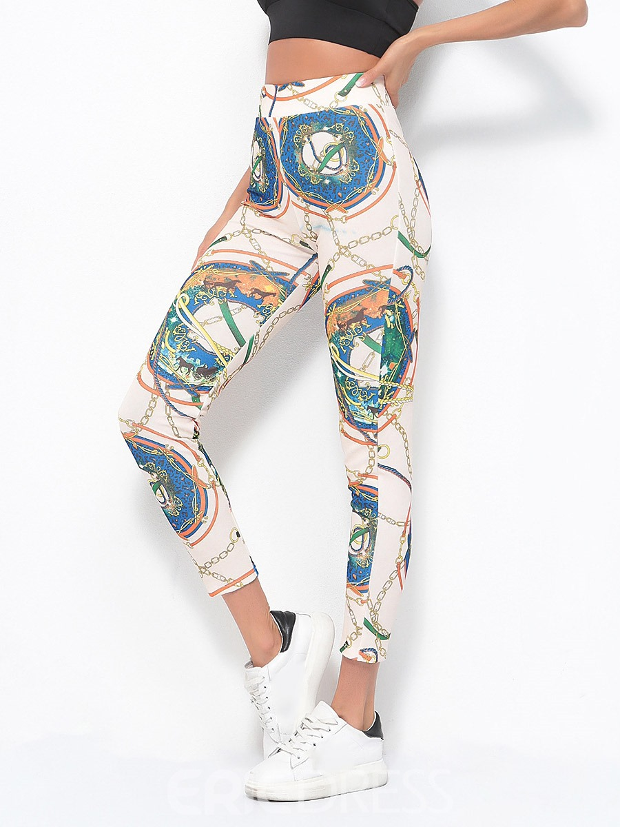 Ericdress Women Print Color Block Ankle Length Yoga Leggings