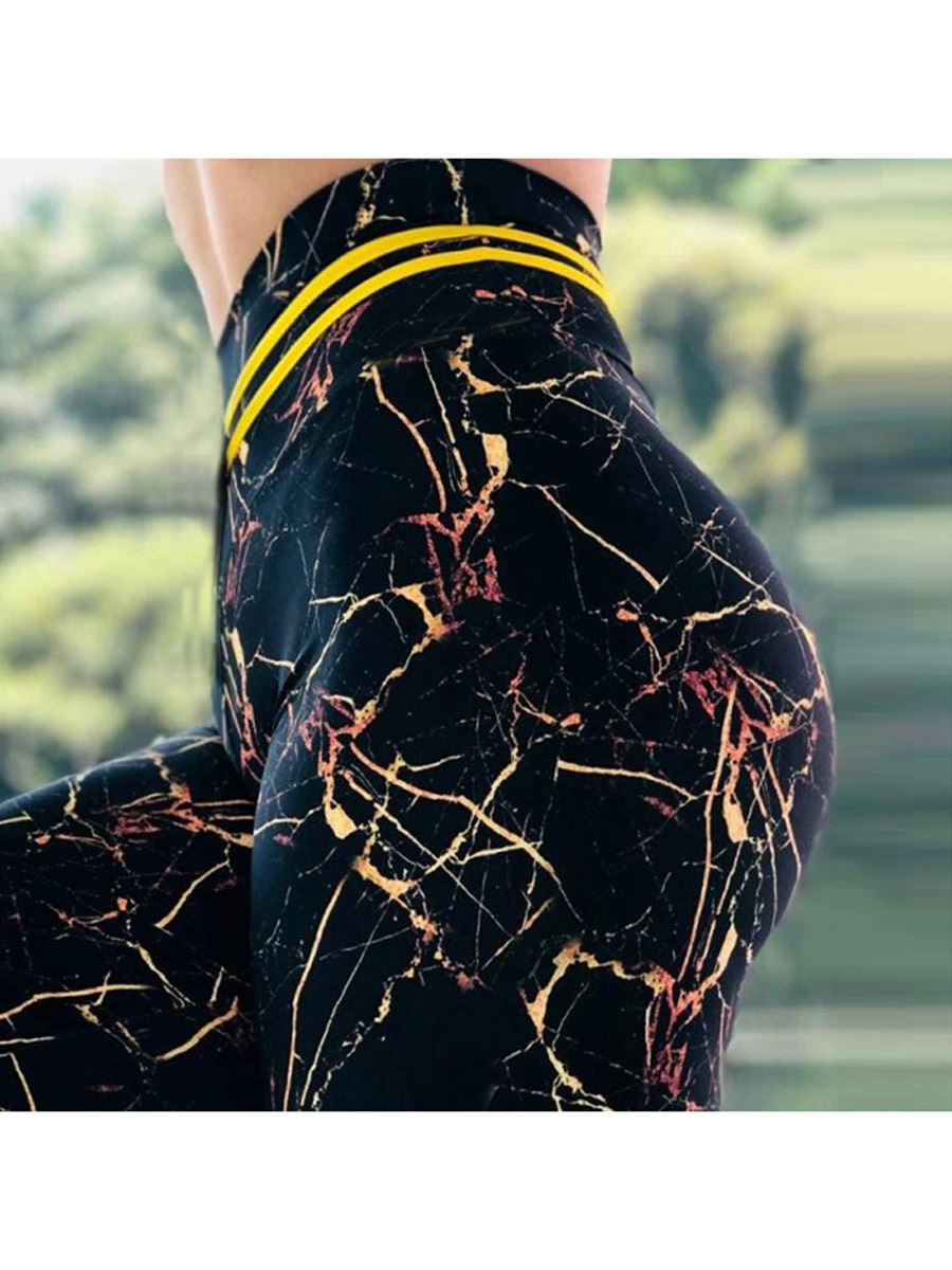 Ericdress Women Color Block Print High Waist Yoga Leggings