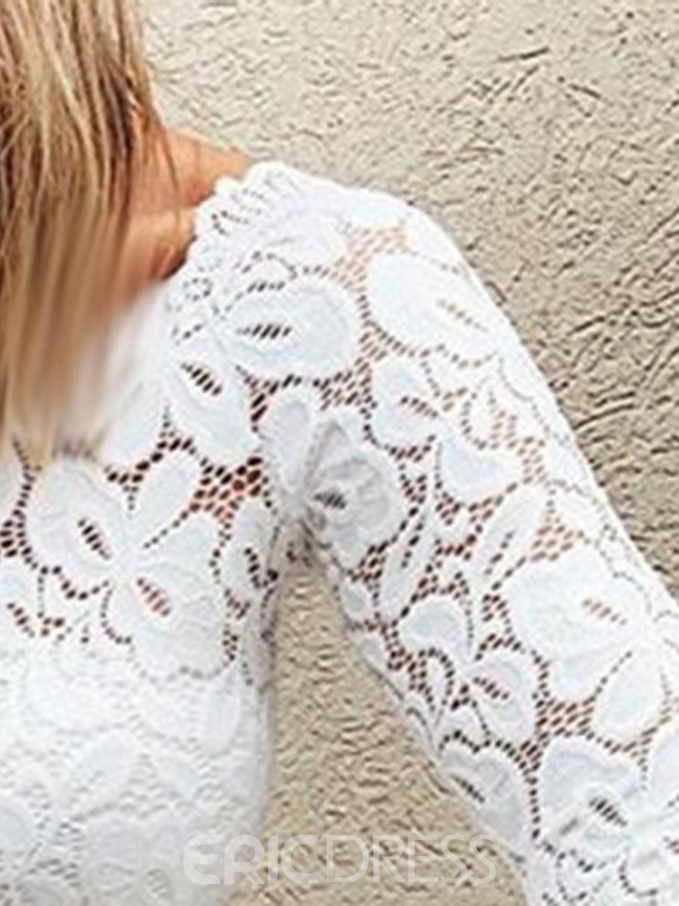 Ericdress Plain Lace See-Through Fashion Blouse