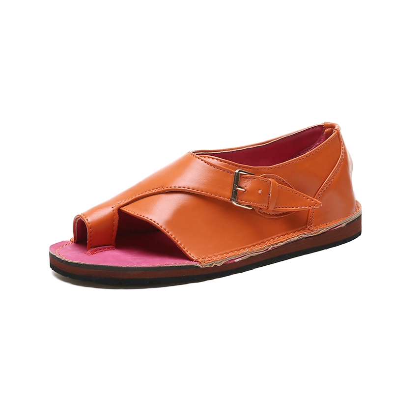 Ericdress PU Toe Ring Slip-On Women's Comfortable Flat Sandals