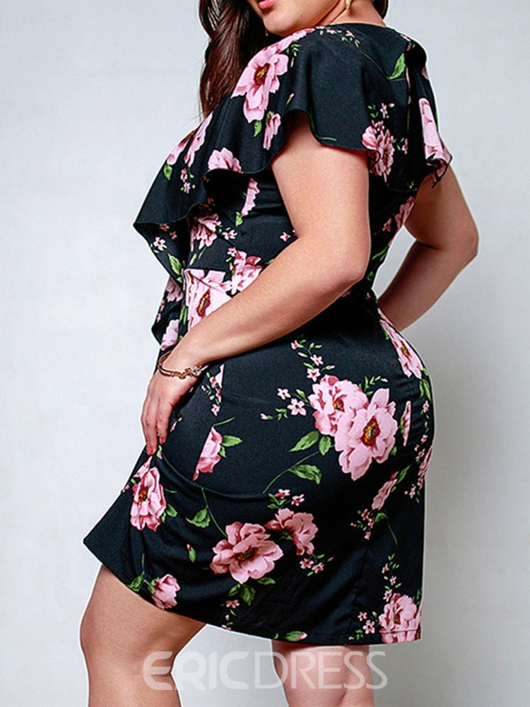 Ericdress Plus Size Floral Print Short Sleeve Above Knee V-Neck Bodycon Dress