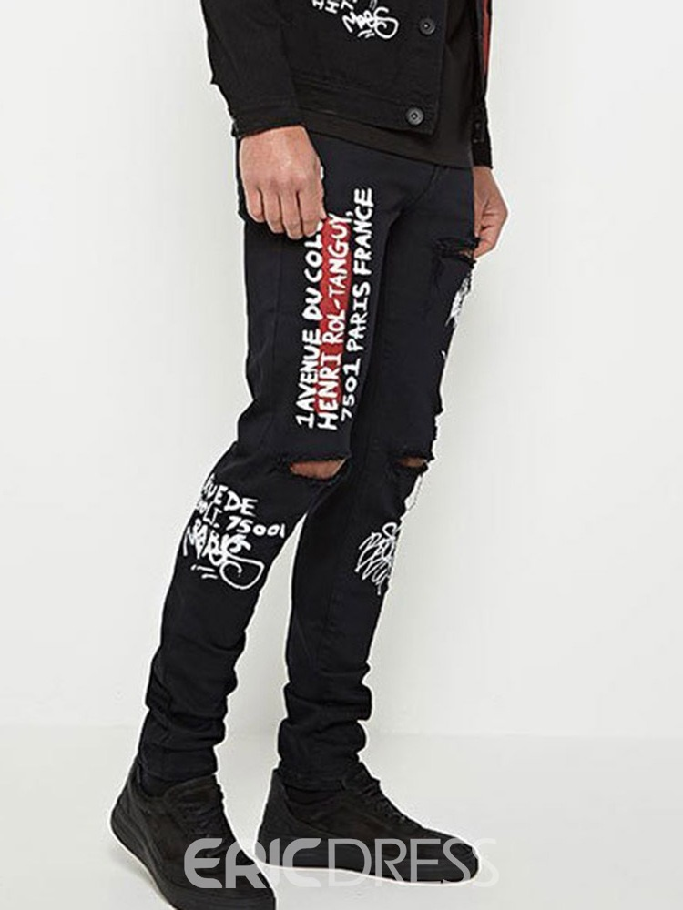 Ericdress Letter Mens Zipper Jeans