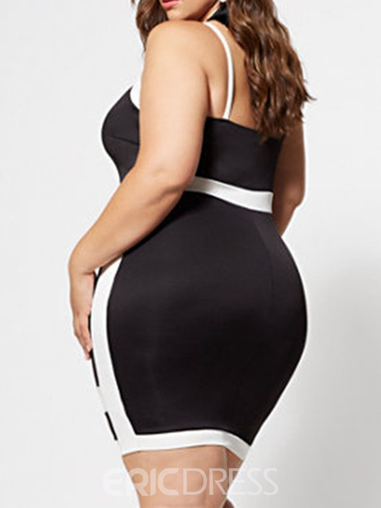 Ericdress Plus Size Patchwork Color Block Sleeveless Spaghetti Strap Bodycon Dress