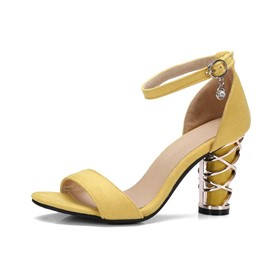 Ericdress Faux Suede Line-Style Buckle Peep Toe Women's Sandals