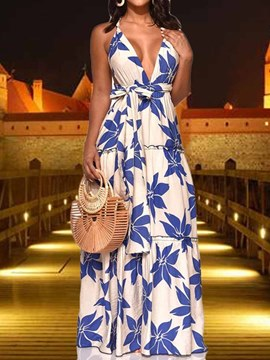 Ericdress Expansion Floor-Length V-Neck Sleeveless Sexy Floral Dress