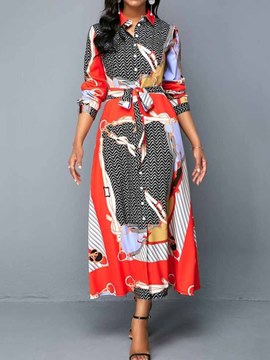 Ericdress Plus Size Print A-Line Single-Breasted Geometric Dress