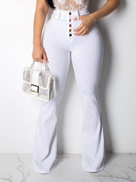 Ericdress Button Plain Slim White Casual Flare Pants