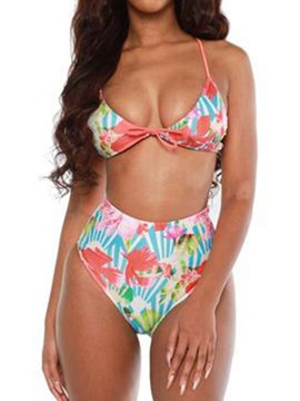 Ericdress Print Lace-Up Bikini Set Floral Swimsuit