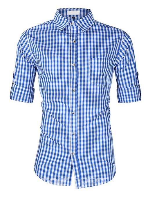Ericdress Lapel Plaid Single-Breasted Mens Shirt