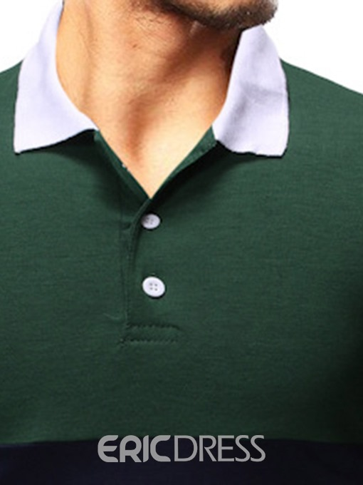 Ericdress Patchwork Mens Casual Polo Shirt