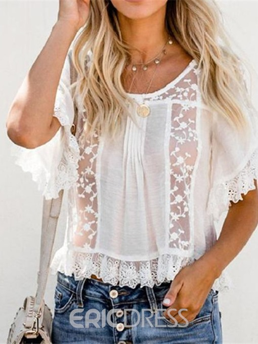 Ericdress Patchwork Mesh Round Neck Flare Sleeve Sexy Blouse