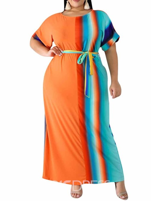 Ericdress Plus Size Patchwork Round Neck Ankle-Length Gradient Casual Dress