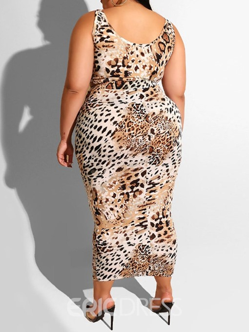 Ericdress Plus Size Leopard Print Bodycon Skirt And Vest Two Piece Sets