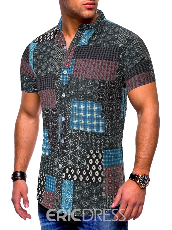 Ericdress Patchwork European Single-Breasted Mens Shorts Sleeve Shirt
