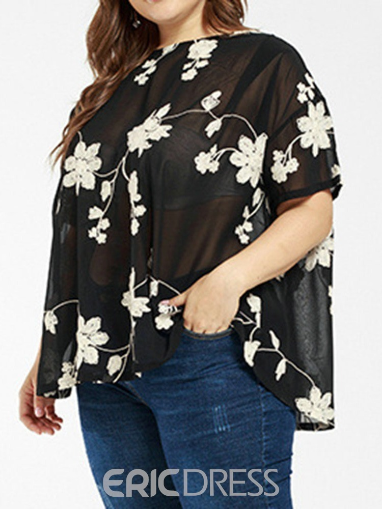 Ericdress Plus Size Floral See-Through Round Neck Blouse