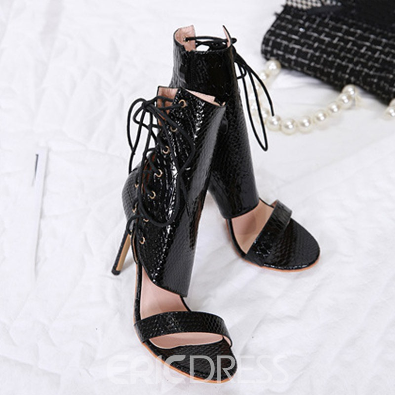 Ericdress PU Stiletto Heel Lace-Up Color Block Women's Sandals