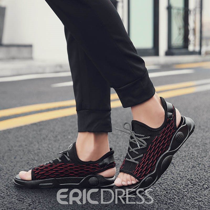 Ericdress Color Block Low-Cut Upper Lace-Up Men's Sandals