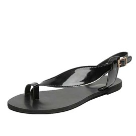 Ericdress PU Block Heel Toe Ring Buckle Women's Flat Sandals
