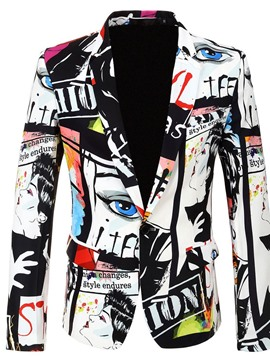 Ericdress Print Fashion Color Block Mens Blazers