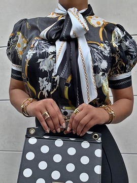 Ericdress African Fashion Print Bowknot Lantern Sleeve Blouse