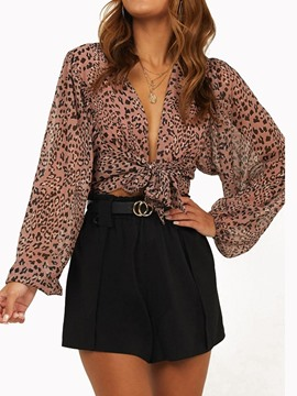 Ericdress V-Neck Print Leopard Lace-Up Blouse