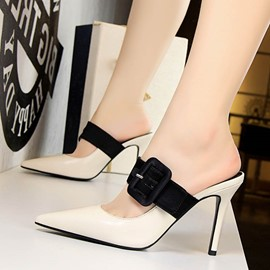 Ericdress Color Block Slip-On Stiletto Heel Women's Mules Shoes