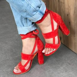 Ericdress Faux Suede Lace-Up Chunky Heel Open Toe Women's Sandals