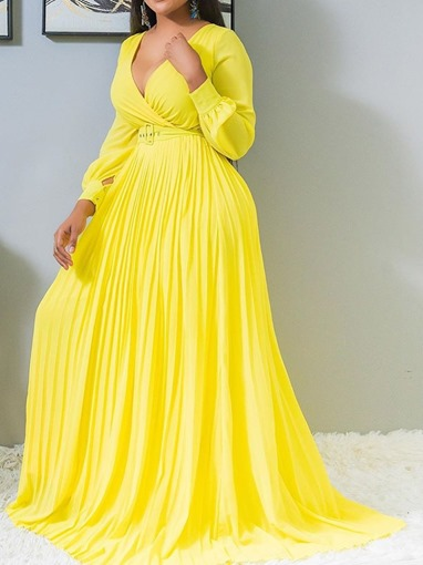 Ericdress Plus Size Pleated Floor-Length Expansion Yellow Dress