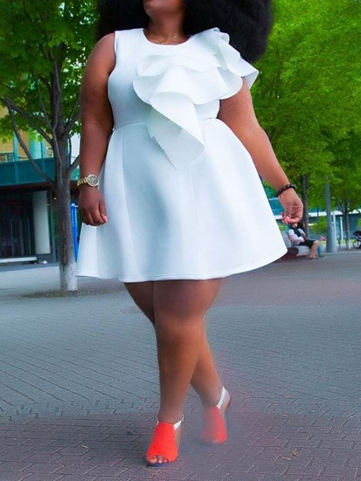 Ericdress Plus Size Above Knee Falbala Short Sleeve A-Line Dress
