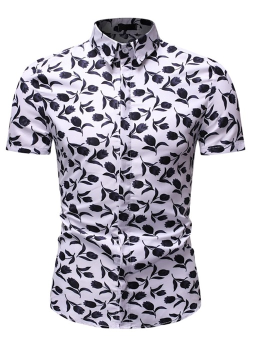 Ericdress Casual Floral Lapel Mens Single-Breasted Shirt
