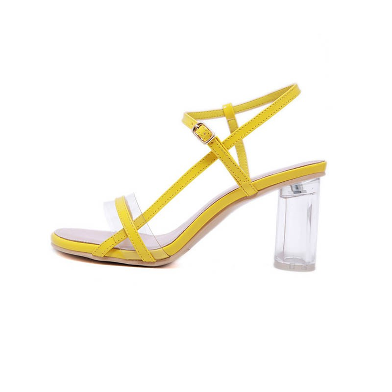 Ericdress Color Block Chunky Heel Buckle Open Toe Women's Sandals