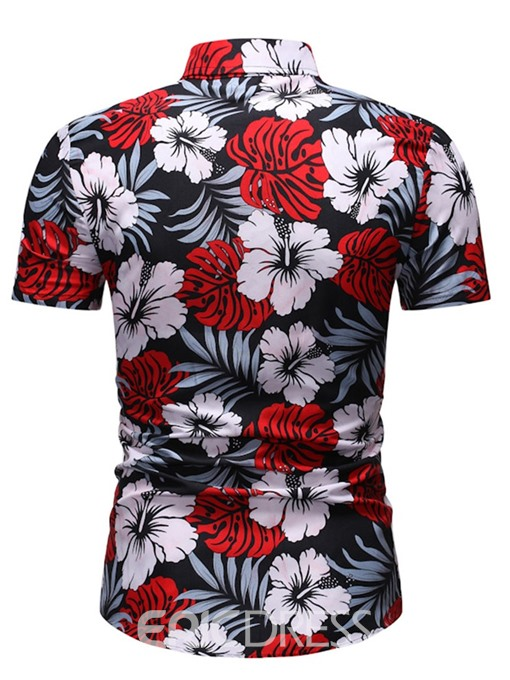 Ericdress Button Floral Lapel Slim Mens Single-Breasted Shirt