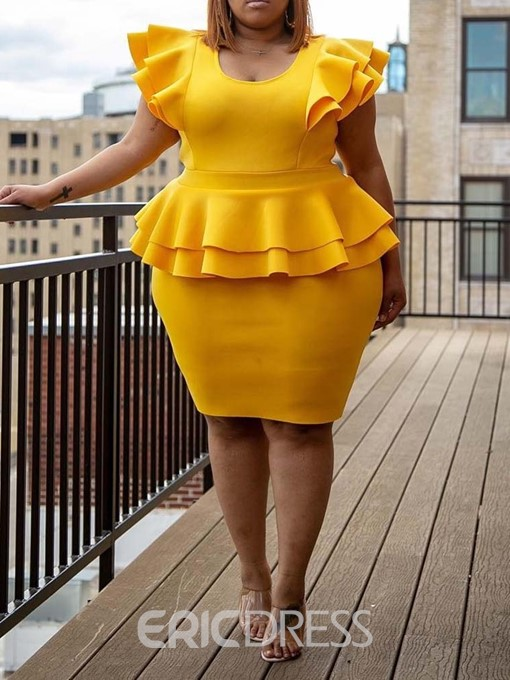 Ericdress Plus Size Falbala Knee-Length Short Sleeve OL Bodycon Dress