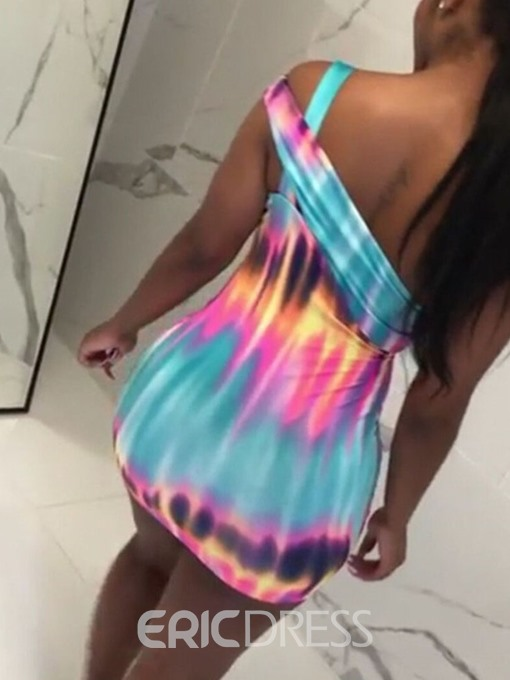 Ericdress Tie-Dye Backless Bodycon Sleeveless Above Knee Dress