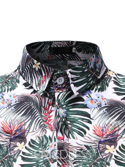 Ericdress Floral Casual Print Mens Slim Shirt