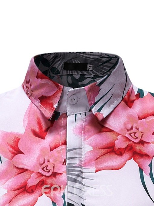 Ericdress Casual Button Lapel Single-Breasted Mens Slim Shirt