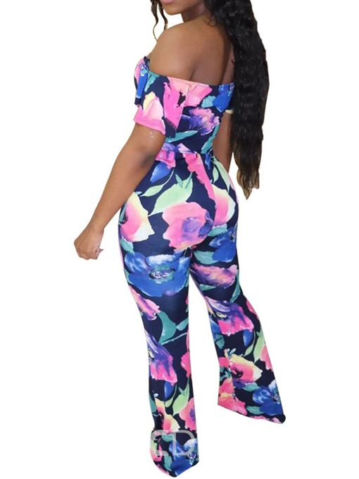 Ericdress Print Floral Off Shoulder Slim Jumpsuit