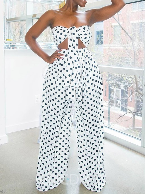 Ericdress Print Lace-Up Wide Legs T-Shirt And Pants Two Piece Sets