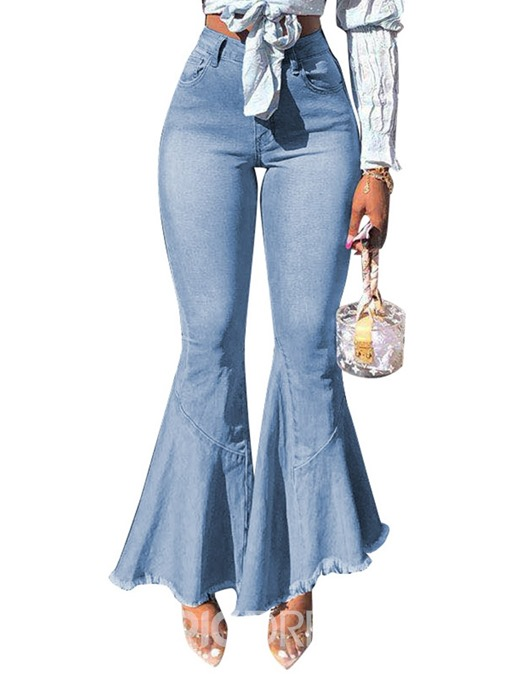 Ericdress Plain Washable Slim Zipper Bellbottoms Jeans