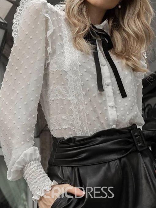 Ericdress Pleated See-Through Bowknot Lantern Sleeve Blouse